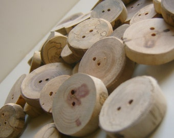 100 Wooden  Buttons Handmade 1 inch Tree Branch Slice Assortment