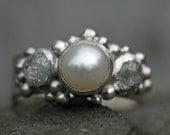 Rough Diamond and Pearl Engagement Band- Custom Made Custom Colour