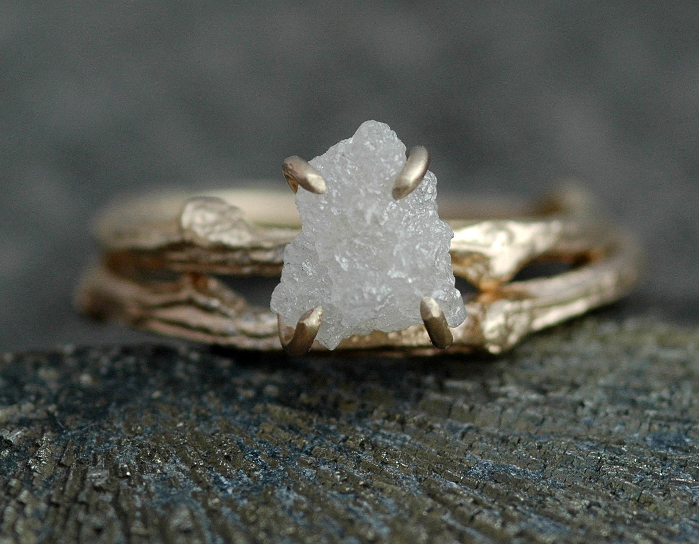 Rough Diamond And 14k Gold Branch Ring Twig Band, Custom Made Wedding Or Engagement  Ring In Yellow, White, Or Rose Gold