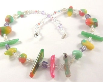 OOAK Hand Carved OMBRE Resin Necklace, Sterling Silver and Swarovski Crystals