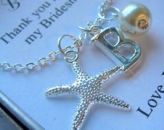 Bridesmaid, starfish, ocean inspired, destination wedding, bridal party gift. FREE personalized notecard and jewelry box.