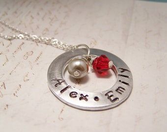 Personalized Mommy Necklace. Mom. Mother. Two Names. children's names.  birthstone.
