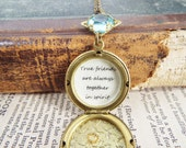 Anne - Vintage Blue Acrylic Crystal, Quote and Vintage Brass Leaf Locket Necklace