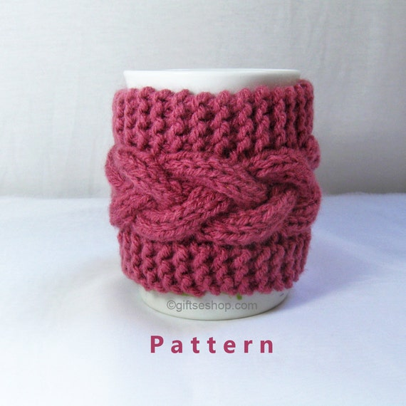 Cabled Cup Cozy Knitting Pattern Coffee Mug Cozy Pattern PDF