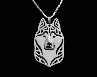 Siberian Husky jewelry - sterling silver pendant and necklace.