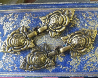 SALE - Ornate Roses Antique Victorian Brass Clothing Connectors from Rustysecrets