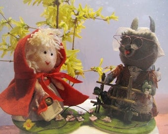 Little Red Riding Hood and Wolf cake topper - Wedding cake topper bride and groom - story book cake topper - Handmade in France