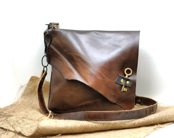 Asymmetrical Leather Bag - Slouchy Leather Messenger - Hobo Leather Satchel with Antique Skeleton Key - Pirate Bag