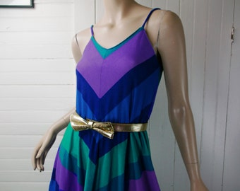 70's Chevron Sundress in Blue, Teal, Purple- Disco- Spaghetti Strap Dress- Small- Striped- Full Skirt- 1970's