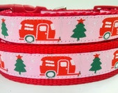 Happy Camper Pink Winter Edition - Dog Collar / Pet Accessories / Christmas / Handmade / Adjustable / Airstream / Pet Lover / Gift Idea