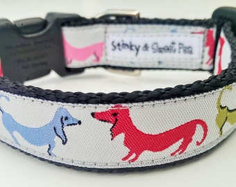 Dancing Dachshunds - Dog Collar / Handmade / Adjustable / Pet Accessories / Pet Lover / Weiner Dog