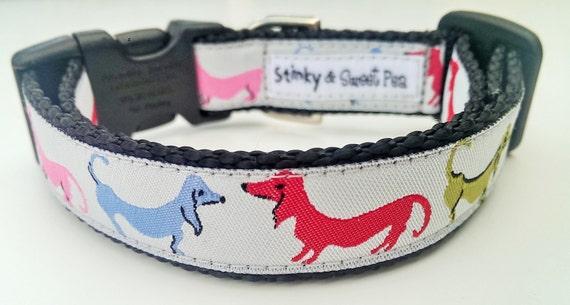 Dancing Dachshunds - Dog Collar / Handmade / Adjustable / Pet Accessories / Pet Lover / Weiner Dog