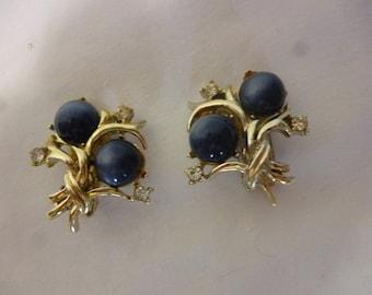 SALE Signed CORO Blue Moonstone & Rhinestone Clip On Earrings