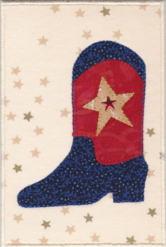 Cowboy Boot Quilted Fabric Postcard
