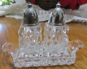 Salt and Pepper Shakers and Tray 3 Piece American Fostoria with Chrome lids
