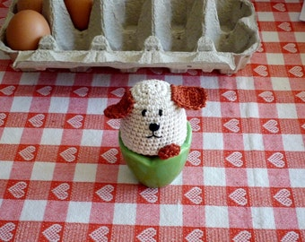 Crochet Dog Egg Cozy, Egg warmers- Set of 2