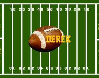 """Custom Personalized Football Field Plush Fuzzy Area Rug -School or Team colors- Size 48x30,  96x44. 96x60"""" - Let's Play Football"""