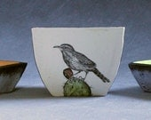 Hand Painted Cactus Wren Serving Bowls