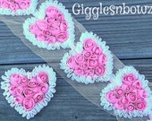 Sale Sale Sale!! Beautiful PiNK/WHiTe SHaBBY CHiFFoN HEART Appliques / Set Of 5 / For Baby Headbands Hair Clips Scrap booking 3 Inch Size.