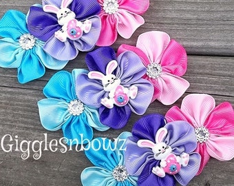 EASTeR CoLLeCTiON-Set of 3 Embellished Grosgrain CLuSTeR Flowers- EaSTeR BuNNY- 4 inch Size