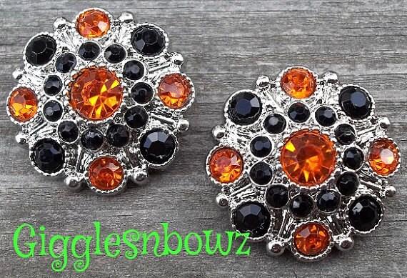 2 Halloween Rhinestone Buttons- ORaNGe-BLaCK Acrylic Rhinestone Buttons 28mm- Diy Supplies-Headband Supplies- Sewing Buttons- Costume Button