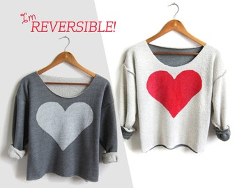 Two Sided Heart - REVERSIBLE Hand Stenciled Deep Scoop Neck Cropped Sweatshirt in Red White and Heather Grey - ONE Size Fits Most