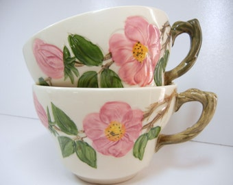 Oversized Franciscan Desert Rose Tea Cups / Pair of Teacups in Desert Rose / rare size / Spring / pink green cream / coffee mugs