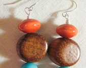SALE 25% Off - Funky Beaded Earrings - Ceramic, Wood, Stone - Orange and Turquoise