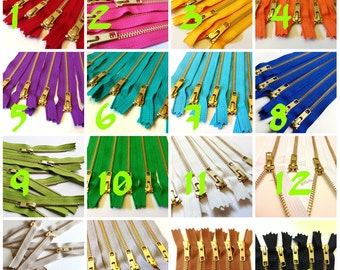 Choose Ten 6 inch brass metal zippers - brown, grey, red, hot pink, orange, sunflower, purple, green, turquoise, aqua, blue, white, black