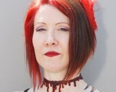 Dripping Blood Vampire  Jewelry - Blood Drip  - Slit Throat choker necklace - Dark Red