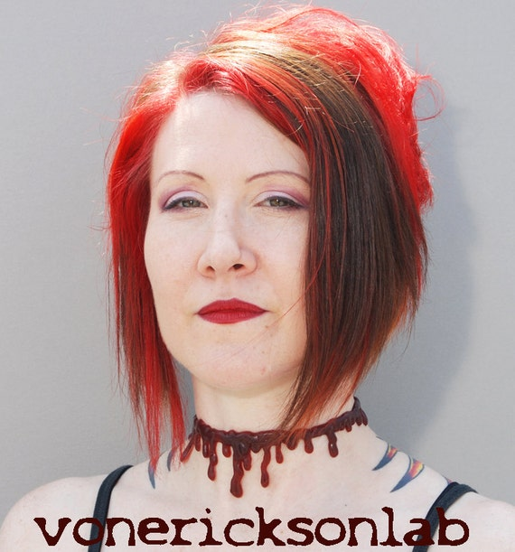 Dripping Blood Vampire  Jewelry - Blood Drip  - Slit Throat choker necklace - Dark Red