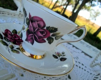 Vintage Teacup Tea Cup and Saucer  English Bone China Pink and Red Roses