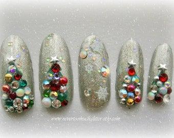 Deck The Halls Fake Nails. Christmas Nail Art, Holiday, Christmas Tree, Christmas Fake Nail, 3D Japanese Nails, Christmas Accessory, Kawaii