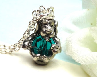 Dog  Pendant Necklace Swarovski Crystal Emerald Green  Bead