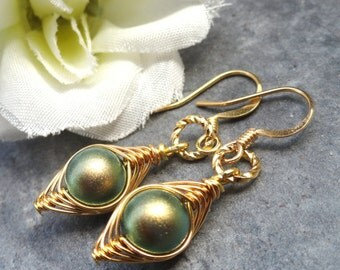 Wire Wrapped Gold Peapod Earrings - Swarovski Green Pearls Or You Choose The Color