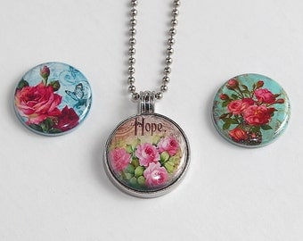 Classic Roses - Magnetic Pendant Necklace - with 3 inserts