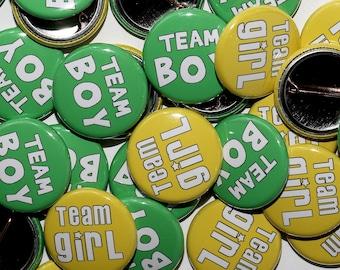 "25 Baby Shower 1"" Pinbacks - Team Girl Team Boy - Green & Yellow BOLD - Gender Reveal Party"