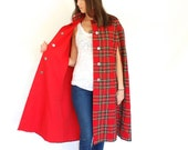 vintage long RED tartan plaid REVERSIBLE cape jacket XS-L - GEMandARROWvtg