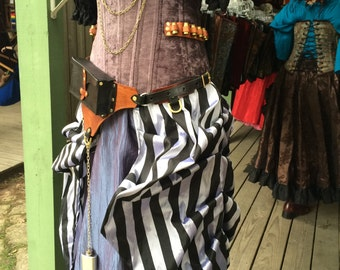 SALE: Fantail Skirt, Black and White Stripe, Pirate, Renaissance, Steampunk, Victorian, Medieval, Fairy, Costume, Overksirt