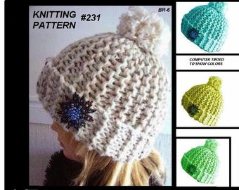 Instant Download PDF 231, KNITTED HAT, Knitting Pattern for beginners, all sizes from newborn to adult, Rolled Brim, ok to sell them