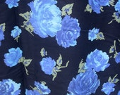 Vintage Plurosis  Fabric - Cotton Blue Roses with Black Background