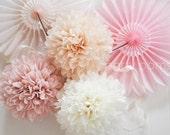7 Tissue Party Poms .. Wedding Reception Decorations / Wedding Backdrop .. Custom Colors