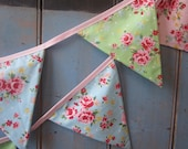 Classic Bunting. Colours -  Blue, Pink and Green.  Fabric Patterns -  Roses and Spots. 3m Strand.