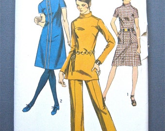 Vintage Simplicity 9063 OnePiece Dress Tunic and Pants Sewing Pattern   Bust 36 inches