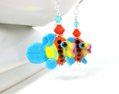 Colorful Tropical Fish Earrings Animal Earrings, Turquoise Blue Orange Yellow Lampwork Earrings, Fun Whimsical Glass Earrings - Fish Sticks