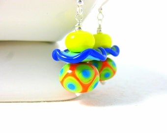 Colorful Glass Earrings, Funky Jewelry, Lampwork Earrings, Orange Blue Green Yellow Earrings, Bright Color Earrings Primary Colors  Sundance