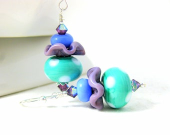 Funky Glass Earrings, Mint Purple Blue Earrings, Polka Dot Earrings, Colorful Jewelry, Lampwork Earrings, Pastel Earrings - Ruffles