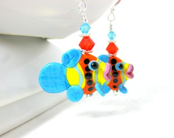 Colorful Tropical Fish Earrings Animal Earrings, Turquoise Blue Orange Yellow Lampwork Earrings, Fun Whimsical Glass Earrings - Fish Sticks