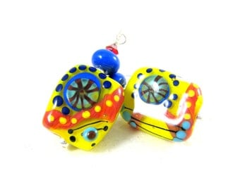 Colorful Funky Earrings, Statement Earrings, Yellow Blue Red Lampwork Earrings, Bright Colors Primary Colors Glass Earrings - Cogs & Gears