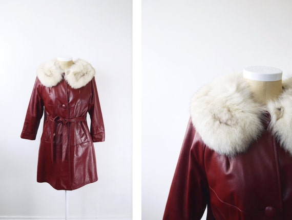 1970s Leather and Fur Maroon Coat - M